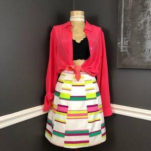 Karen Mullen Neon Color Block High Waisted Skirt